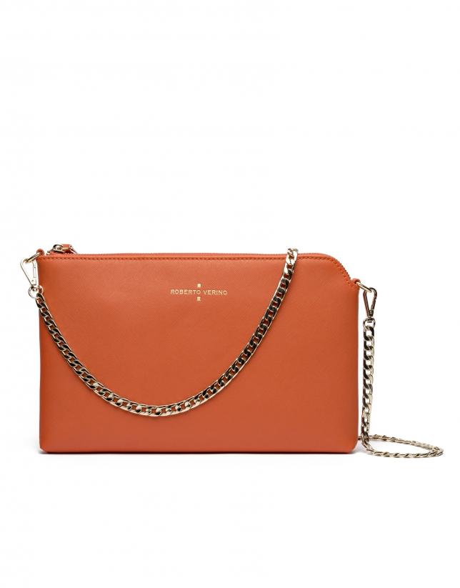 Orange Saffiano leather Lisa Clutch