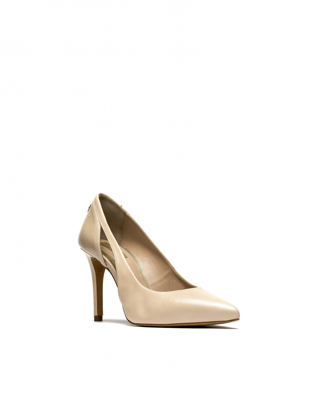 Beige leather pumps Toulouse