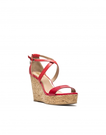 Sandalia de cuña piel roja Antibes