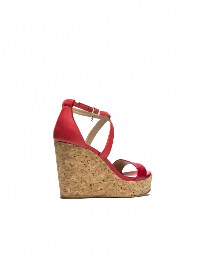 Sandales compensées en cuir rouge Antibes
