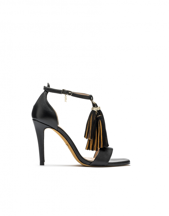 Sandalia piel negra París