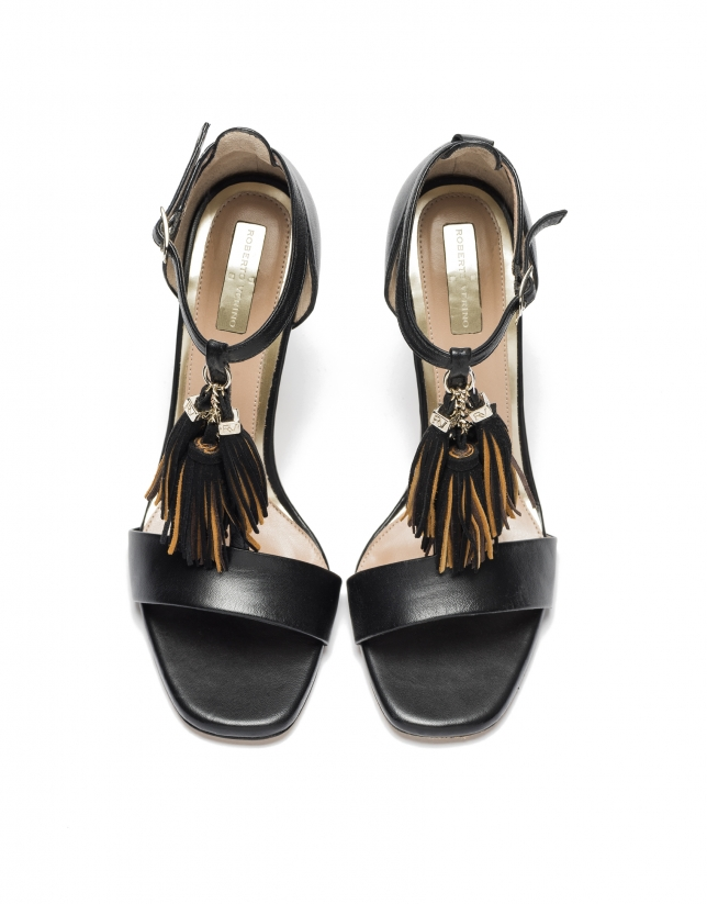 Black leather sandals Paris
