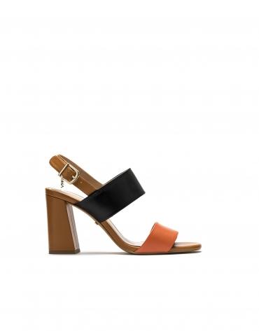 Sandalia piel naranja/negro Lyon