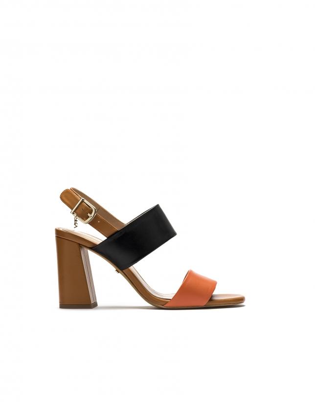 Sandale Lyon en cuir orange/marron
