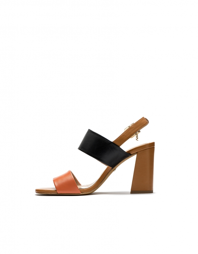 Orange/brown wedge sandals Lyon