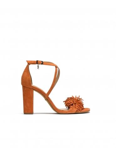 Sandalia piel/ante naranja Niza