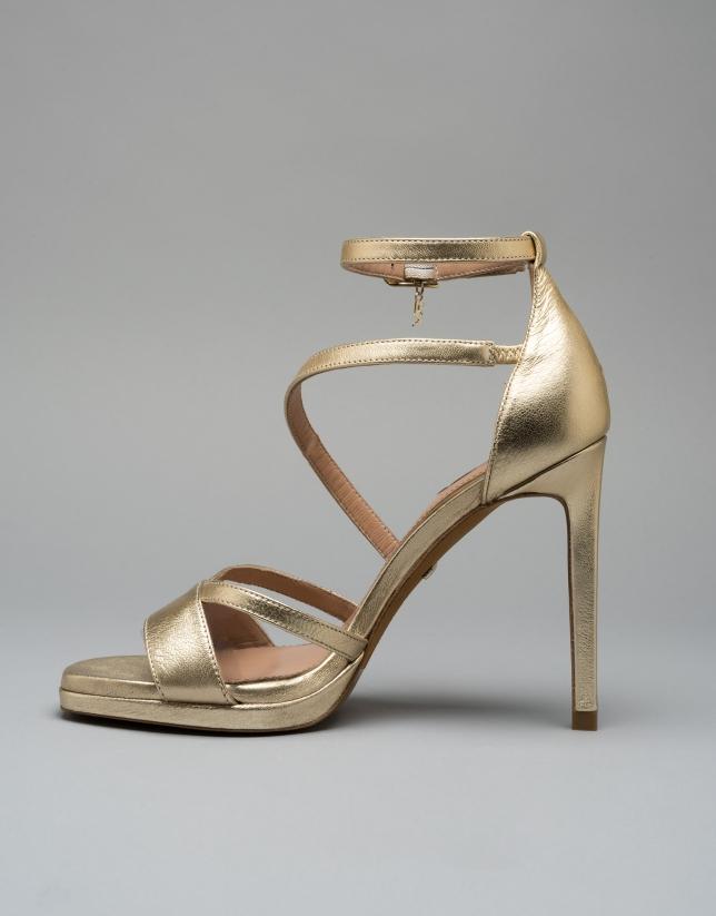 Sandalia piel dorada Valence