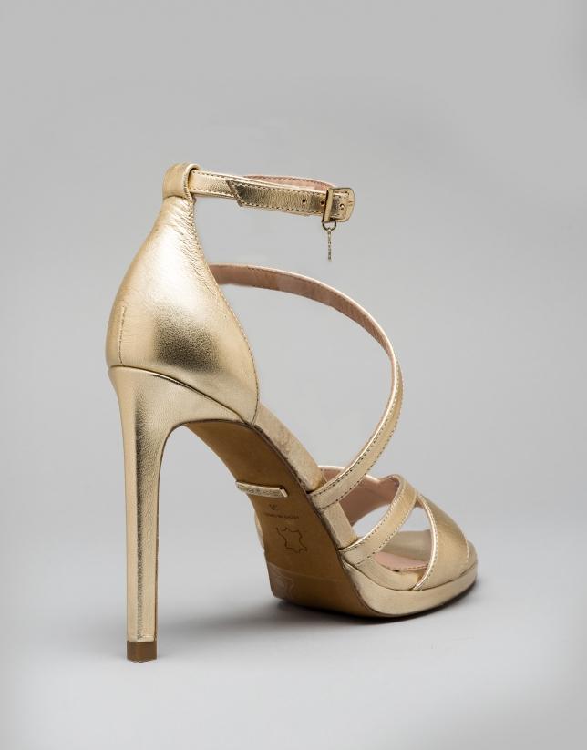 Sandale Valence en cuir doré