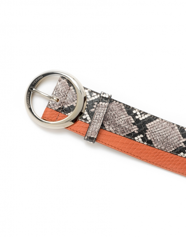 Snakeskin and orange embossed belt