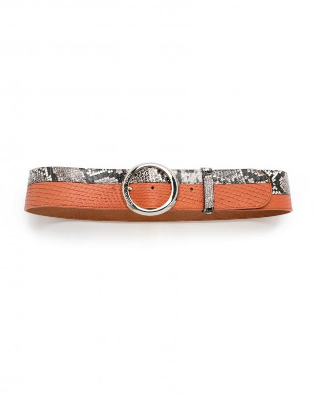 Cinturón piel grabado serpiente y piel naranja