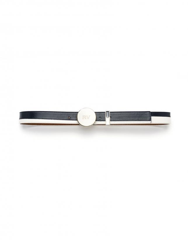 Cinturón bicolor azul/ blanco