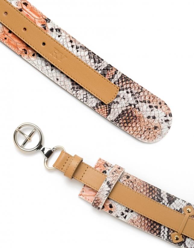 Cinturón doble combinado piel beige/naranja