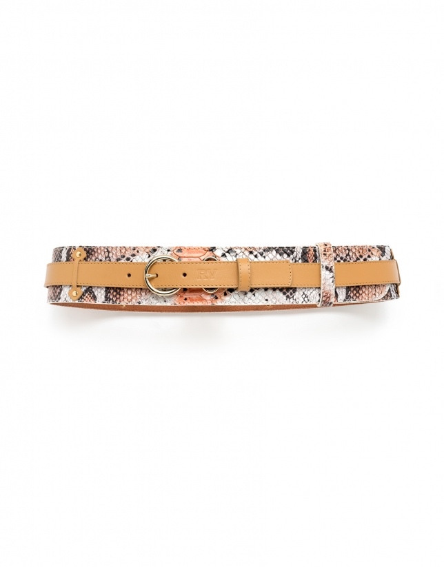 Beige/Orange combination double belt