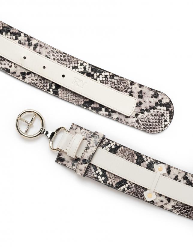 Cinturón doble combinado piel blanco/negro