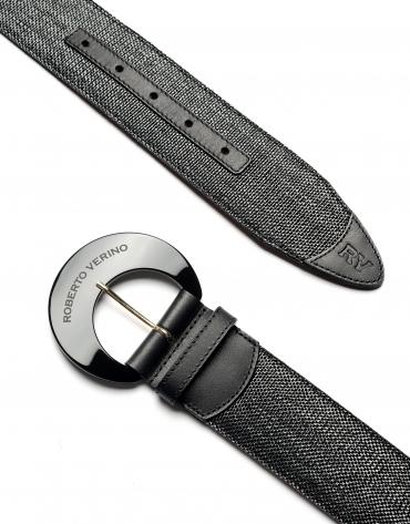 Black raffia belt