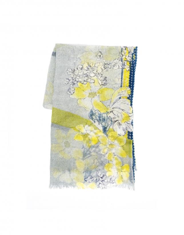 Foulard flores verde lima