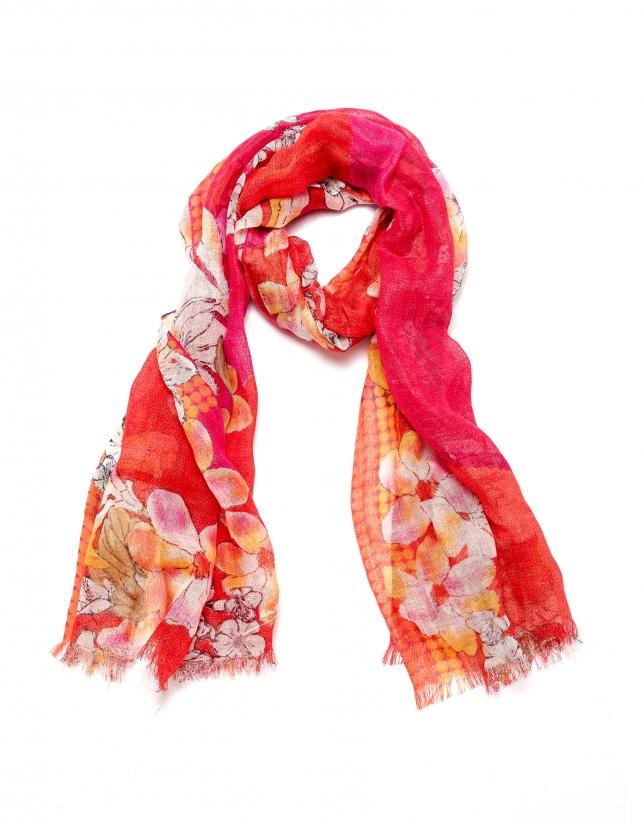 Salmon floral print scarf