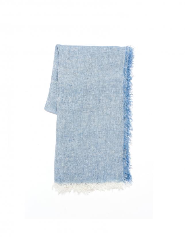 Foulard lino azul cielo