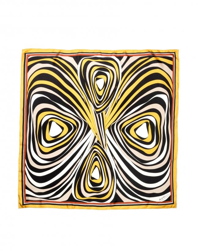 Foulard en soie à motif géométrique or et cuivre