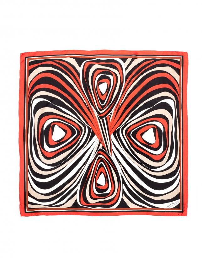 Pañuelo seda dibujo geométrico naranja
