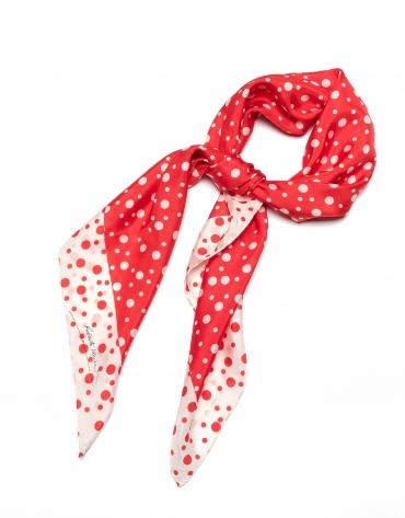 Pañuelo seda lunares rojo