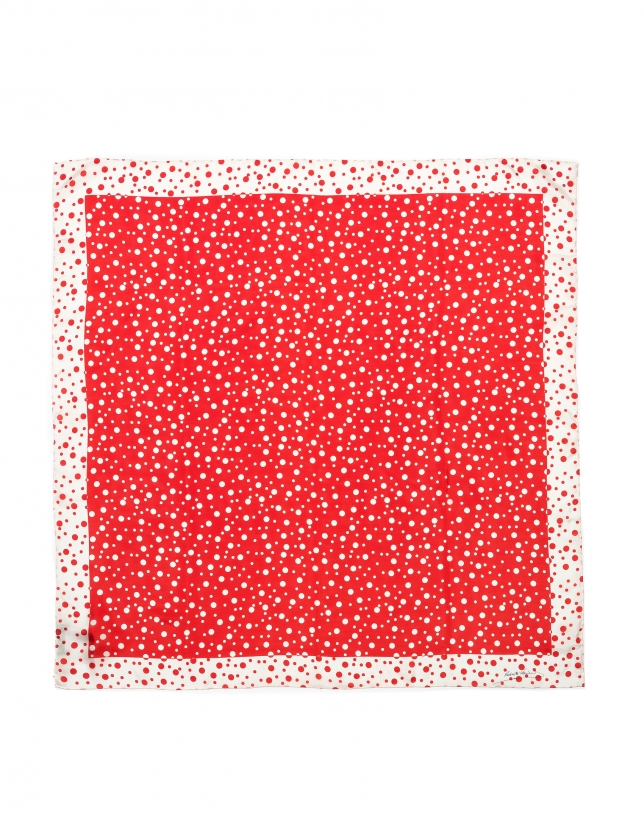 Red silk polka dot scarf