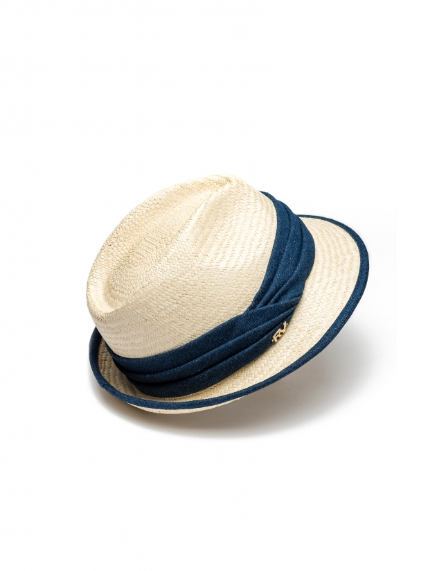 Narrow-brim raffia hat
