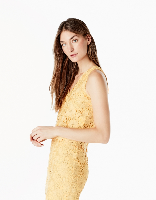 Yellow lace top with straps