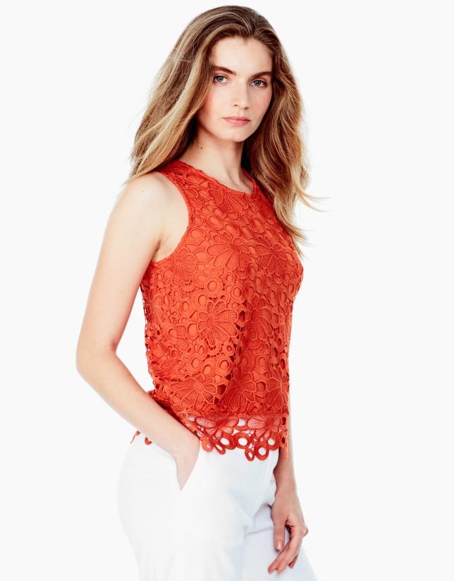 Orange lace top