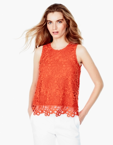 Top en dentelle orange