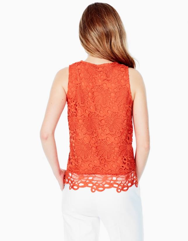 Orange lace top