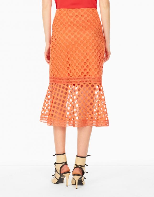 Falda encaje godets naranja