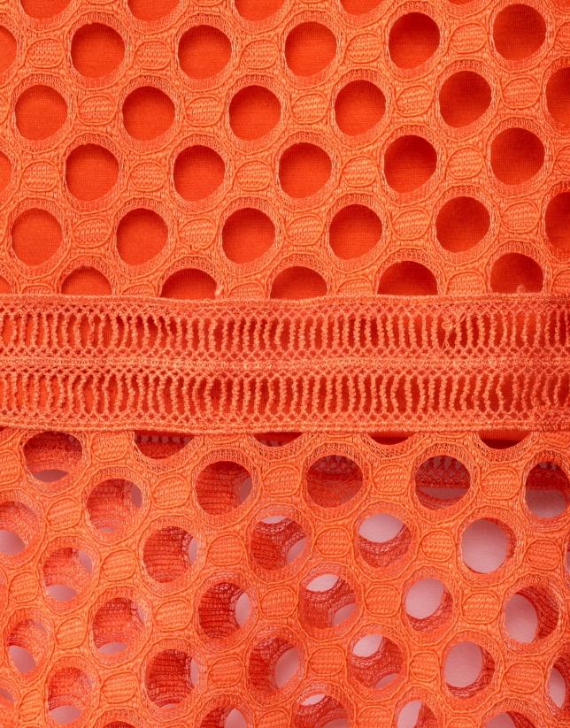 Orange godet lace skirt