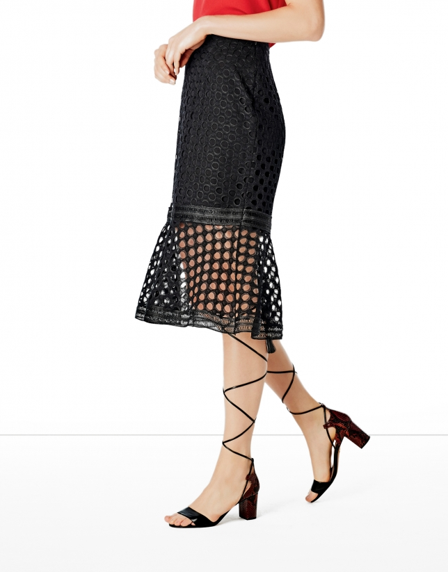 Black godet lace skirt