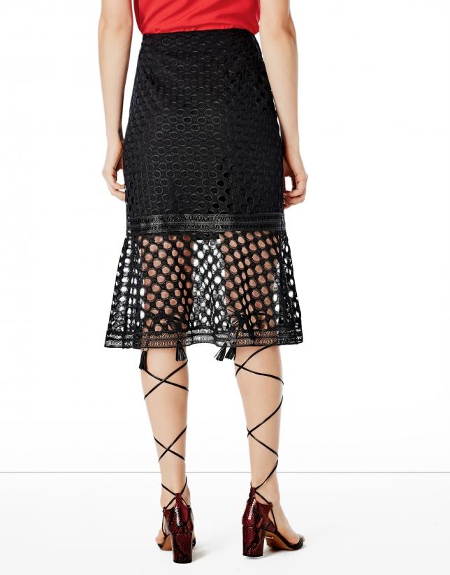 Black godet lace skirt