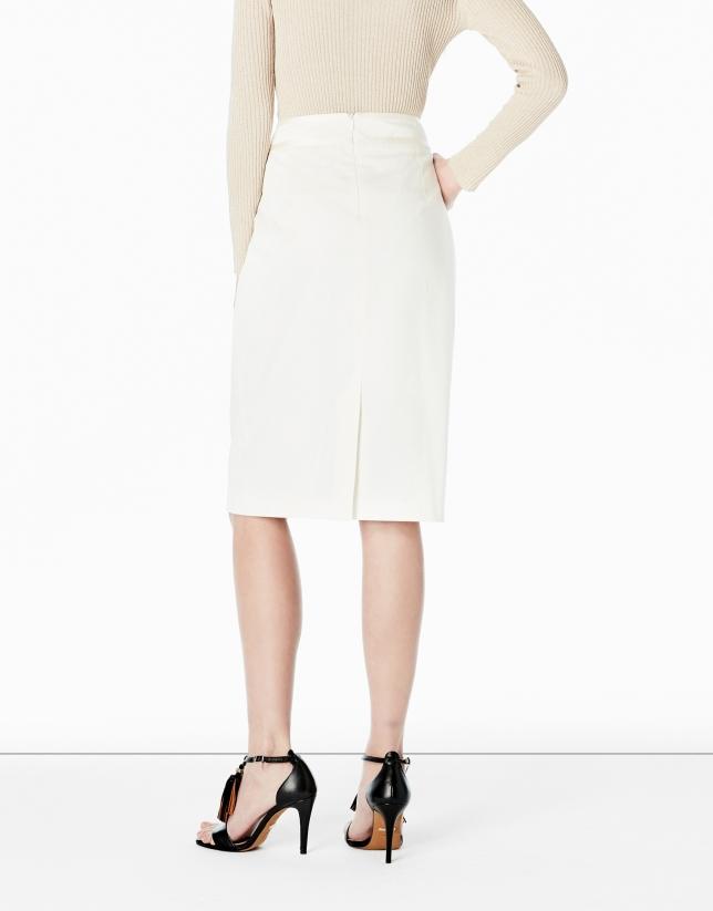 Falda recta blanco roto