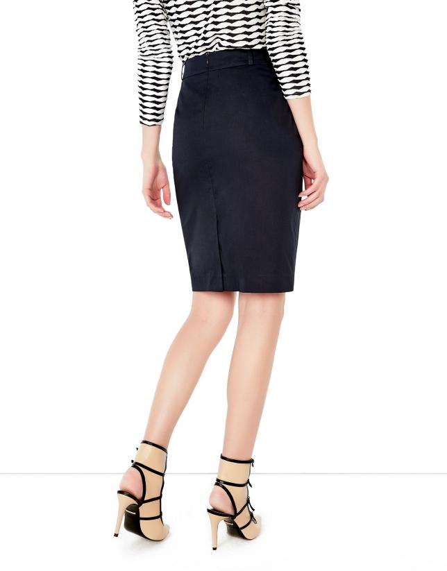 Blue straight skirt