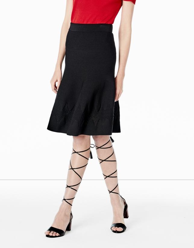 Black knit skirt