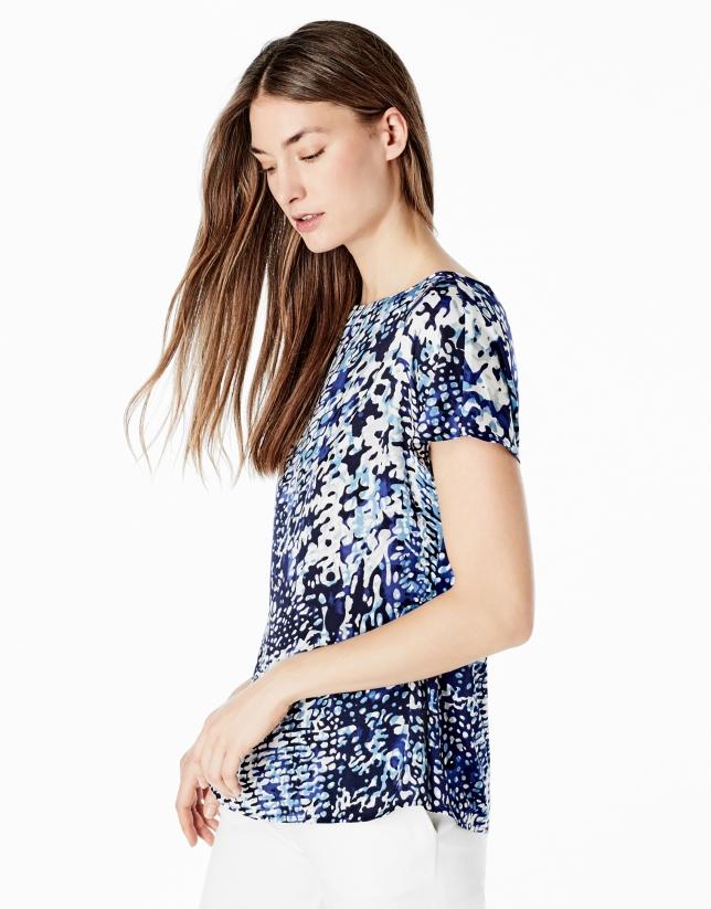 Loose blue print shirt