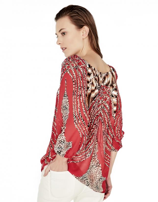 Blusón escote bardot rojo