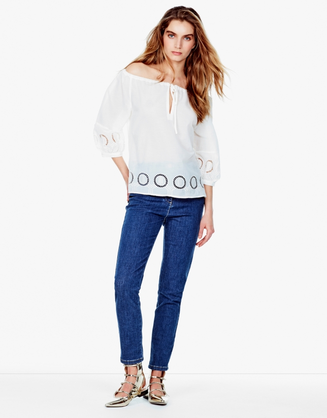 Ivory embroidered loose blouse