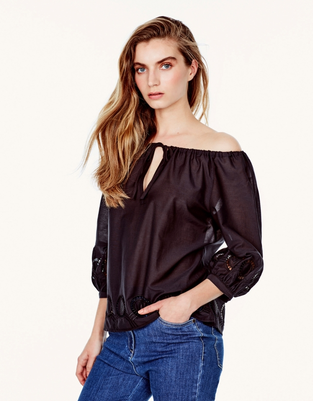 Black embroidered loose blouse