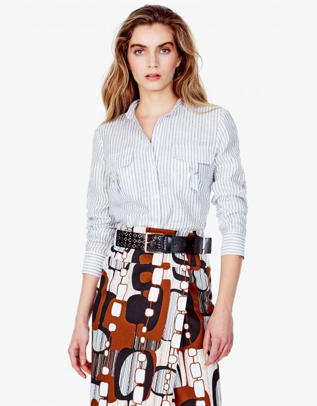 Camisa lino rayas