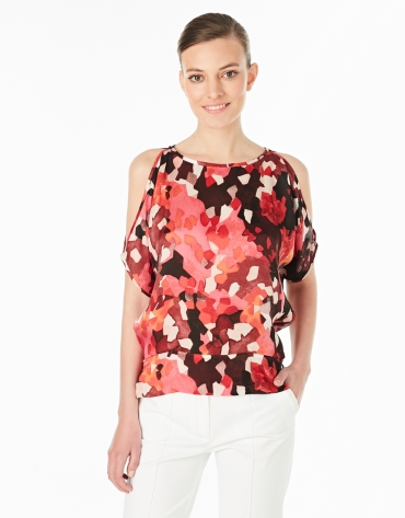 Loose silk print shirt