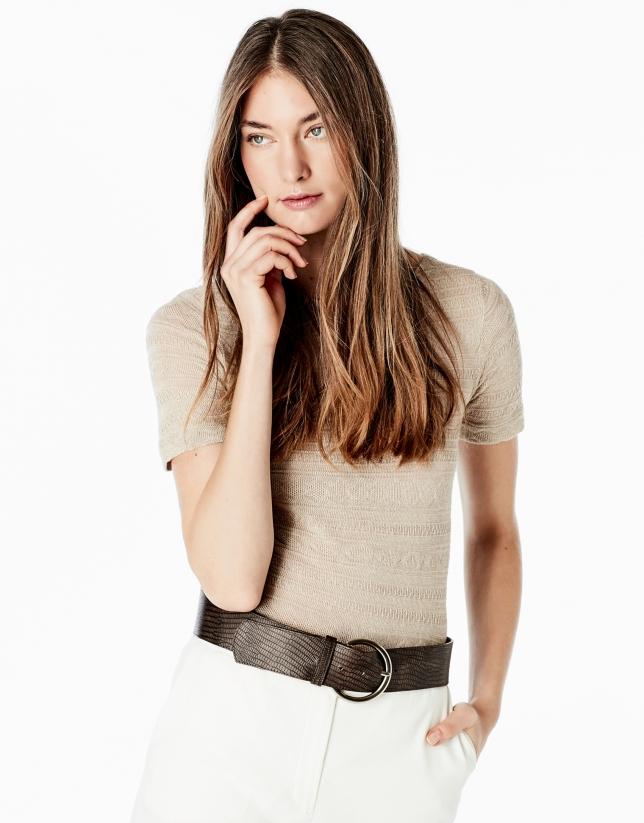 T-shirt à manches courtes beige