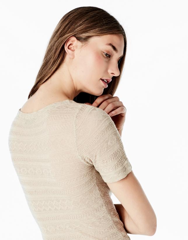 Beige short sleeve top