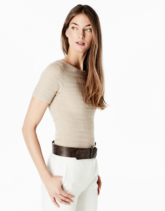 Beige short sleeve top
