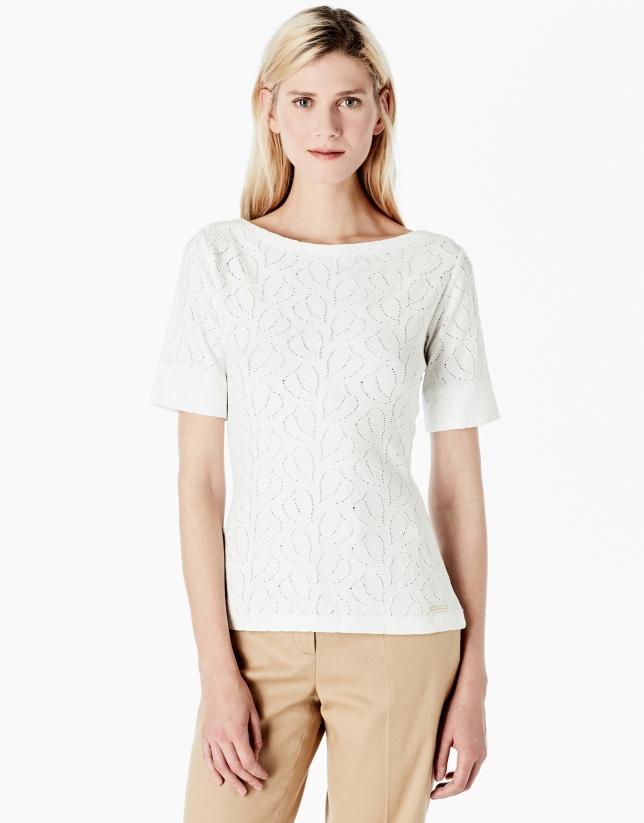 T-shirt en maille ajourée blanc