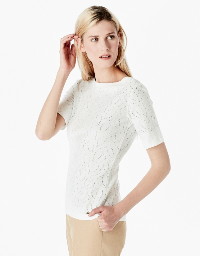 White openwork knit top