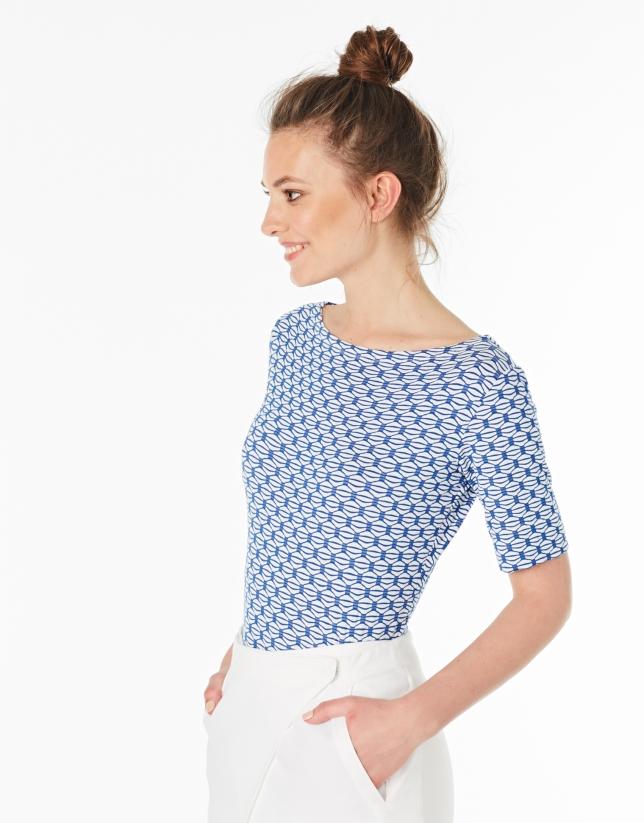 T-shirt en maille ajourée bleu